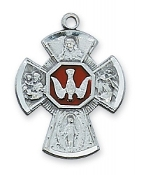 Sterling Silver Enameled Four Way Medal