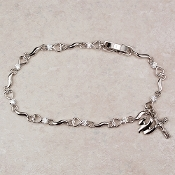 Cubic Zirconia Bracelet with Holy Spirit and Crucifix