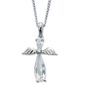 Cubic Zirconia Crystal Angel Pendant on Chain Necklace