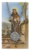"Saint Francis 24"" Pendant and Prayer Card Set"