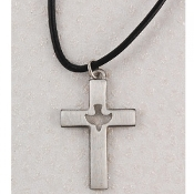 "Pewter Holy Spirit Cut-out Cross on 24"" Leather Cord Necklace"