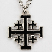Silver Oxide Black Jerusalem Cross on 24 inch Necklace