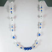 Blue Swarovski Crystals with Cultured Pearls Necklace