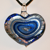 Zermatt Heart Glass Pendant on Satin Cord