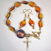 Madeira Topaz Rosary Bracelet with Matching Earrings