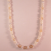 Cultured Freshwater Pearl and Golden Swarovski Crystal Necklace