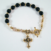 Black Jasper Rosary Bracelet with Matching Earrings