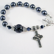 Dark Gray Rosary Bracelet with Matching Earrings