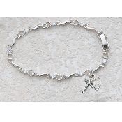 First Communion Cubic Zirconia Heart Bracelet, 6.5 inches