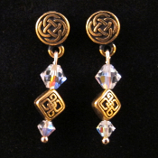 Antiqued Goldplated Pewter Celtic Post Earrings with Crystals