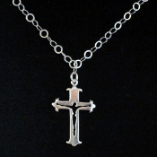Sterling Silver Cut-out Crucifix on Sterling Silver Necklace