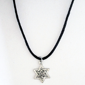 Star of David Pewter Pendant on Satin Cord, 16 inch or 20 inch