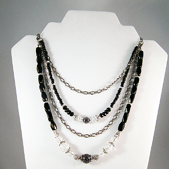 Multi-strand Crystal and Black Glass Bead Chain Necklace, 20 in