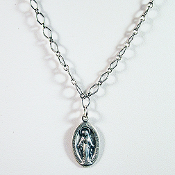 Sterling Silver Miraculous Medal on Sterling Silver Chain, 20 in