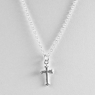 Sterling Silver Petite Cross on a Cable Chain, 16 inches