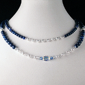 Royal Blue Double Strand Necklace, 20 inches