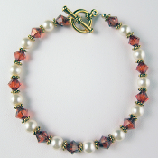 Swarovski Crystal Imitation Pearl and Red Magma Bracelet, 7 inch