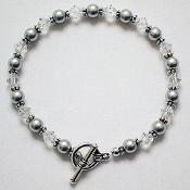 """Anna"" Swarovski Grey Faux Pearl and Crystal Bracelet, 7 inches"