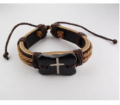 Brown Stone Cross Adjustable Leather Bracelet
