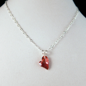 Swarovski Red Crystal Heart and Sterling Silver Necklace