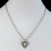 Sterling Silver Fleur de Lis Heart Necklace, 20 inches