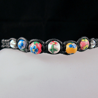 "Shamballa ""Flower Days"" Adjustable Bead Bracelet"