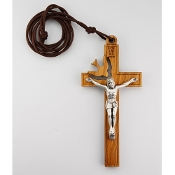 "Large Cut-Out Holy Spirit 3.5"" Crucifix on 28 inch Brown Cord"