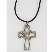 "Pewter Holy Spirit Peace Cross with 24"" Leather Cord Necklace"