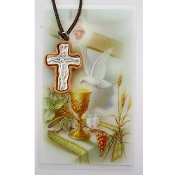 "Olive Wood Trinity Crucifix on 27"" Cord Necklace and Prayer Card"