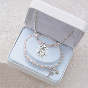 Pink Heart Miraculous Pendant Necklace and Bracelet Set
