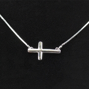 Rhodium Sideways Cross on 18 inch Chain