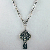 "Antique Silver-Plate Celtic Crucifix on 30"" Chain"