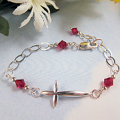 Sterling Silver and Swarovski Crystals Sideways Cross Bracelet