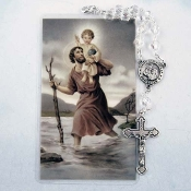 St. Christopher Auto Rosary and Prayer Card Set