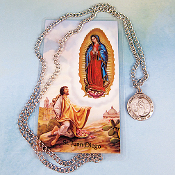 "St. Juan Diego Pewter Medal on 24"" Chain and Prayer Card Set"