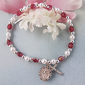 January Red Birthstone Youth Stretch Religious Bracelet