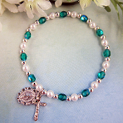 May Green Birthstone Girl's Stretch Christian Bracelet