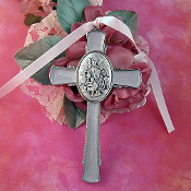 Light Pink Enamel Guardian Angel Child's Small Cross