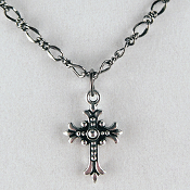 "Antiqued Silver-Plated Fleur Cross on 20"" Neck Chain"