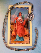 "St. Agatha Pray Card and 24"" Necklace for Breast Cancer"