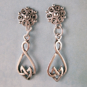 Sterling Silver Celtic Heart Drop Post Earrings