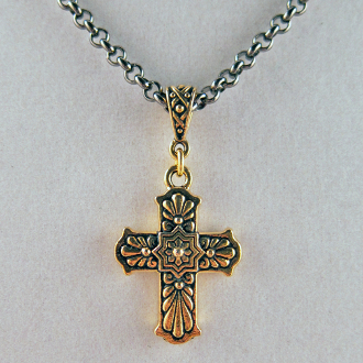 "Gold-Plated Talavera Cross on 24"" Gunmetal Neck Chain"