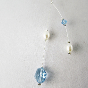 Swarovski Light Blue Crystal and Pearl Illusion Necklace
