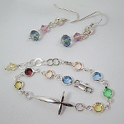 Multi Color Crystal and Sterling Silver Cross Bracelet Set