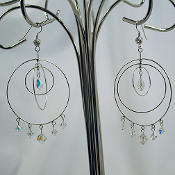 Big Sterling Silver Circle Hoop Earrings with Swarovski Crystals
