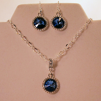 Rivoli Swarovski Sapphire Crystal Necklace and Earrings Set