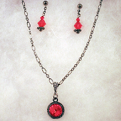 Siam Red Swarovski Necklace and Earrings Set