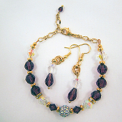 Swarovski Amethyst Crystal Adjustable Bracelet and Earrings Set