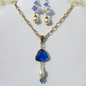 Sapphire Colored Crystal and Faux Pearl Necklace and Earrings