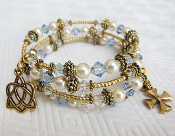 Swarovski Light Sapphire and Faux Pearls Rosary Wrap Bracelet